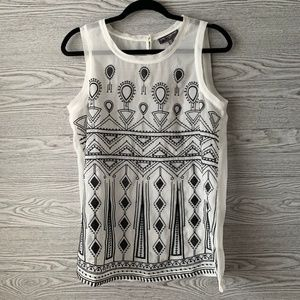 Pea in the Pod White & Black Embroidered Tank Top